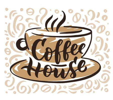 Coffee house hand drawn lettering and doodle composition. 일러스트