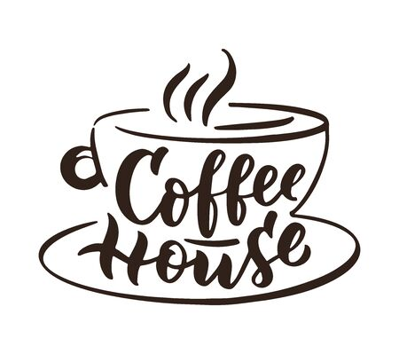Coffee house hand drawn lettering and doodle composition. Standard-Bild - 129266688