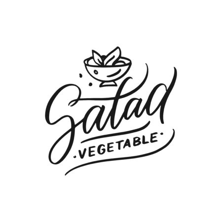 Food doodle design template.  letter logotype illustration. Isolated graphic fork icon for catering, cafe, restaurant. Modern linear label, emblem.