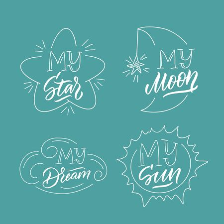 Magic illustration with hand lettering and doodles icons set. Beautiful childish night elements and characters.