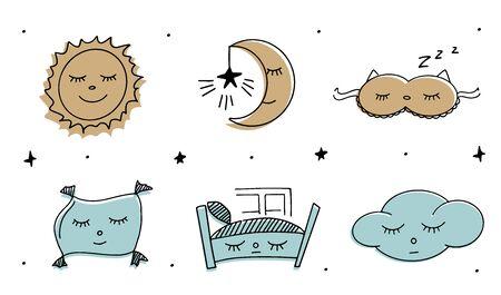 Magic illustration hand doodles icons. Beautiful childish night elements and characters. Ilustracja
