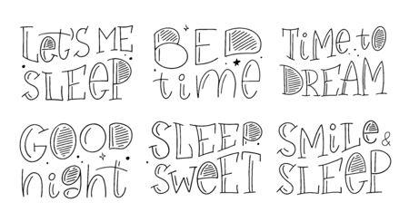 Magic illustration hand lettering set. Beautiful childish night elements and characters. Ilustracja