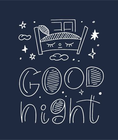 Magic illustration with hand lettering and doodles icon. Beautiful childish night elements and characters. Ilustracja