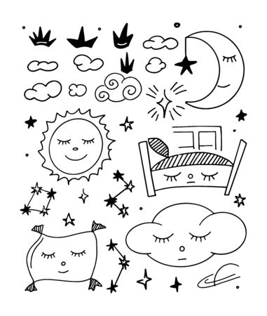 Hand doodles icon. Beautiful childish night elements and characters. Sweet dreams.