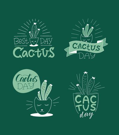 Cactus hand lettering set, sketch, doodles, stickers, hand drawn icons. Vector illustration design