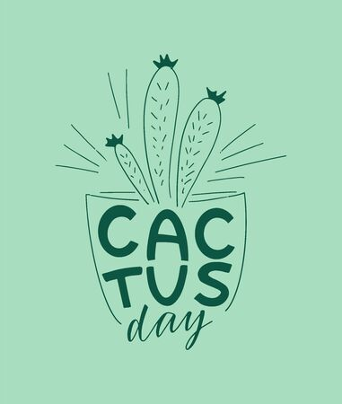 Cactus hand lettering, sketch, doodles, stickers, hand drawn icons. Vector illustration design Ilustracja