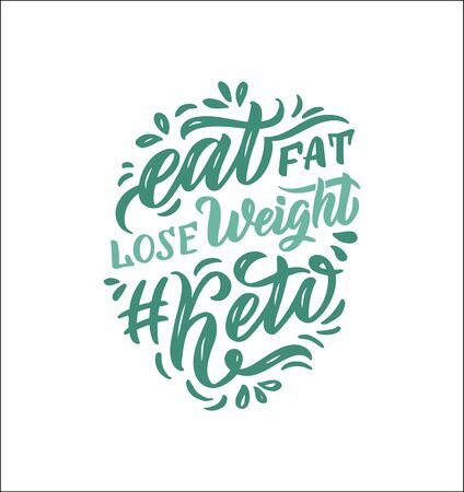 Hand drawn logo phrase for ketogenic diet. Weight Keto