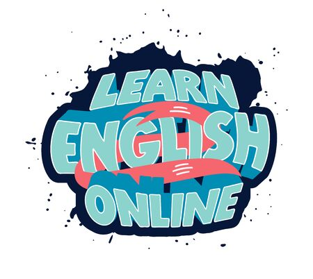 Learn English clipart. Creative poster, web banner, design element