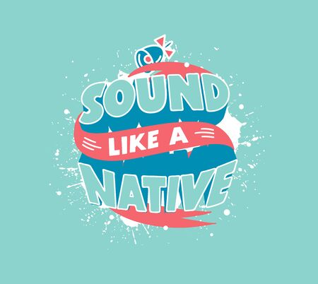 Sound like native. English learning phrase isolated on blue background  イラスト・ベクター素材