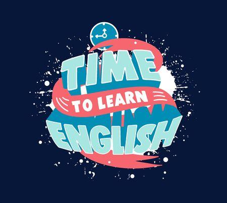 Studia la frase inglese. Poster creativo, banner web per scuola di lingue straniere Vettoriali