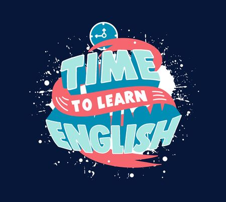 Study English phrase. Creative poster, web banner for foreign language school  イラスト・ベクター素材