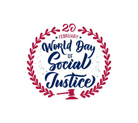 World day of Social Justice phrase, logo, stamp. Creative lettering