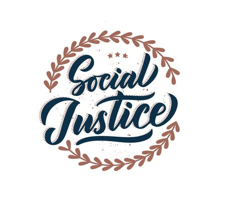 Social Justice phrase, logo, stamp. Creative lettering
