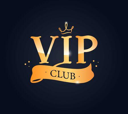 Vip club lettering phrase, logo. Creative composition