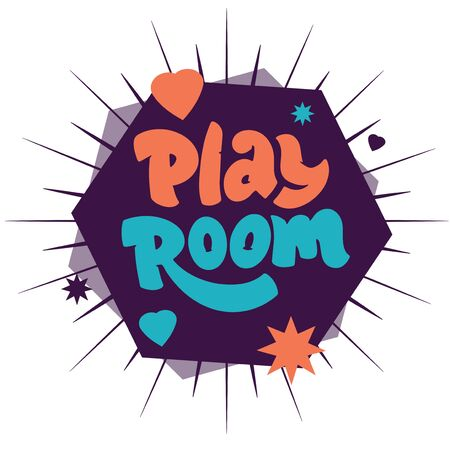 Play room logo on geometric abstract for childrens area with rays. Illustration