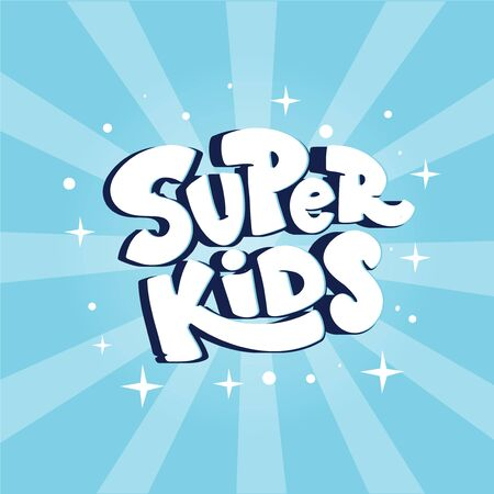 Kids zone logo, banner Super Kids on blue backgrond with rays.