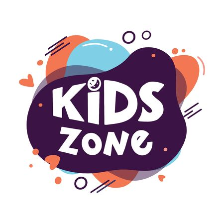 Kids zone logo on modern abstract liquid form. Hand drawn lettering composition