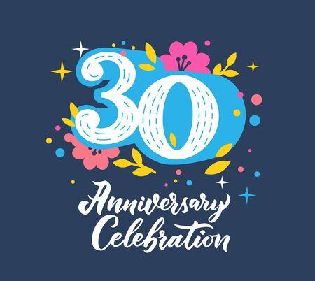 30 anniversary celebration flat vector greeting card template