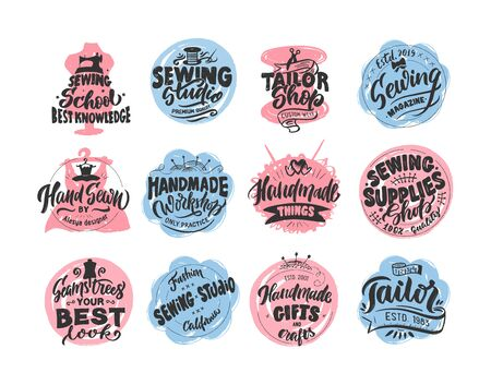 Schneider, Nähen, handgemachtes Logo, Phrasen, Stempel. mit Textur. Vektor-Illustration. Logo