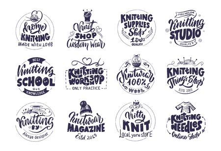 Strickstudio, handgemachtes Logo, Phrasen, Briefmarken. Schwarze Kollektion