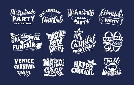 Carnival collection stamps, phrases, lettering compositions. Big set of Festival templates