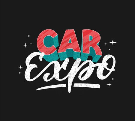 Car expo logo hand drawn vector illustration. Vintage style 免版税图像 - 137141821