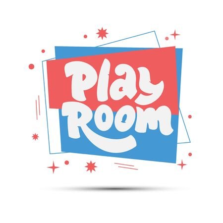 Play room logo on geometric abstract for childrens area. Hand drawn lettering composition.