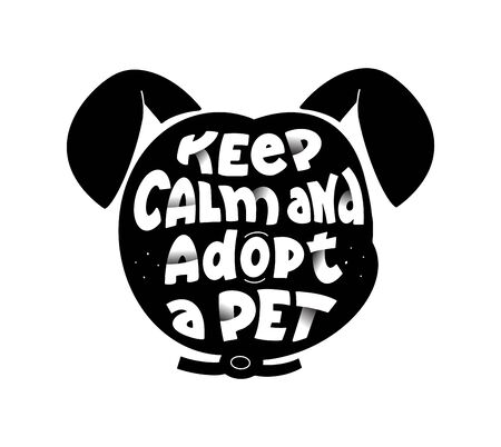 Dogs adoption center flat vector logotype design. Black puppy head silhouette
