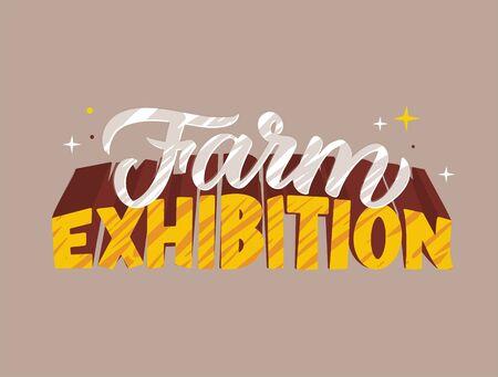 Farm exhibition hand drawn logotype vector illustration.