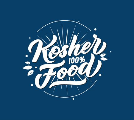 Kosher food logo, stamp, lettering phrase on blue background. Vector illustration isolated. Handwritten composition for shop, market, restaurant, cafe menu, etc. Blue design for labels, badges, stickers. Calligraphy, typography with textured effect and rays, stars icons