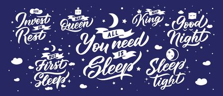 Sleep lettering phrases. Set for your cards and banners. Vector illustration collection. Handwritten compositions for your design, interior labels, stickers with stars, clouds, moon flat icons Foto de archivo - 137252964