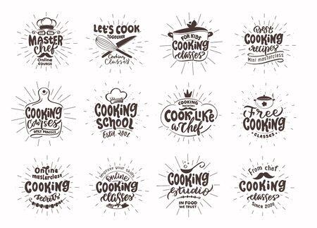 Lets cook. Set of vintage retro handmade badges, labels and elements, symbols, phrases, slogans for cooking school, cooking studio