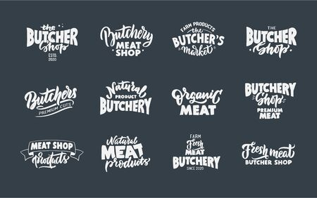 Butchery, Meat shop, fresh meat, emblems, stamps. Set of retro handmade badges, labels and elements, symbols, phrases, slogans