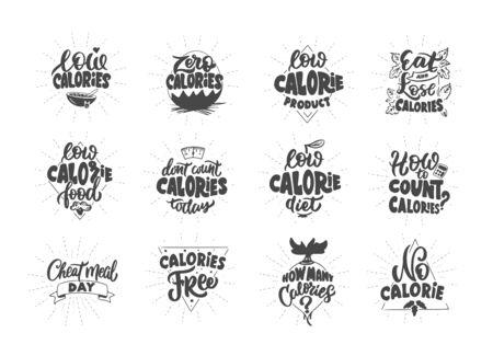 No calories, Zero calories, Low calories product, . Set of vintage retro handmade badges, labels and elements, symbols, phrases, slogans Ilustrace