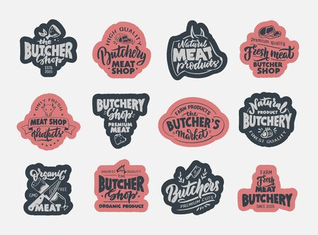 Butchery, Meat shop, fresh meat, emblems, stamps. Set of retro hand draw badges, labels and elements, symbols