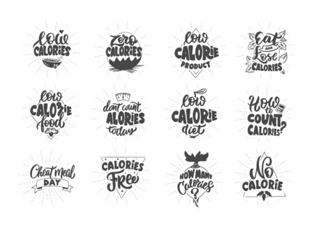 No calories, Zero calories, Low calories product. Set of vintage retro hand drawn badges, labels and elements, symbols, phrases, slogans. Vector illustration.