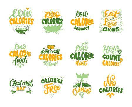 No calories, Zero calories, Low calories product emblems. Set of vintage retro handmade badges, labels and  elements, symbols, phrases, slogans. Vector illustration. Ilustrace