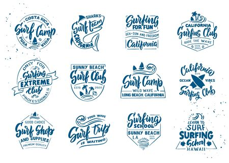 Set of vintage Surfing emblems and stamps. Surf club, school badges, templates and stickers.
