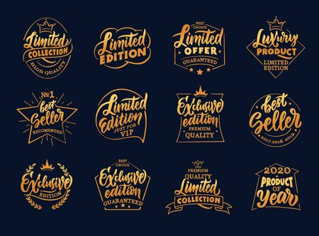 Set of vintage exclusive and limited edition emblems and stamps. Gold premium badges, and stickers on black background.