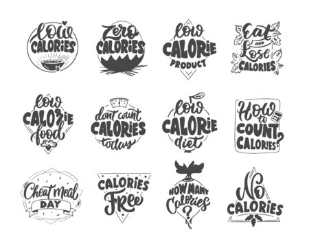 Set of vintage Low and Zero calories emblems and stamps. Diet badges, templates and stickers on white background. Ilustrace