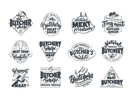 Butchery, Meat shop, fresh meat, emblems, stamps. Set of retro handmade badges, labels and elements, symbols, phrases, slogans for butcher shop, market, food studio. Vector illustration.