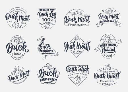 Set of vintage Duck and meat emblems and stamps. Farm badges, templates and stickers on white background isolated. Çizim