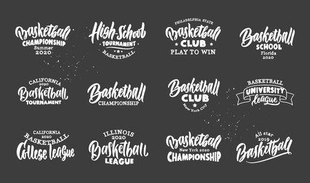 Set of vintage Basketball emblems. Basketball club, school, league