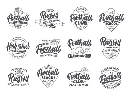 Set of vintage Football emblems and stamps. Sport badges, templates and stickers for Football club, school, league