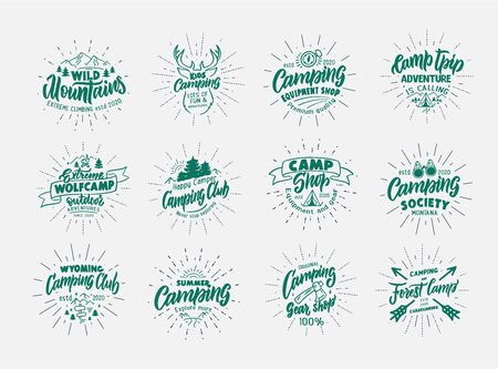 Set of vintage Camping emblems and stamps. Camp shop, outdoor badges, templates and stickers
