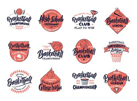 Set of vintage Basketball emblems and stamps. Basketball club, school, league colorful badges