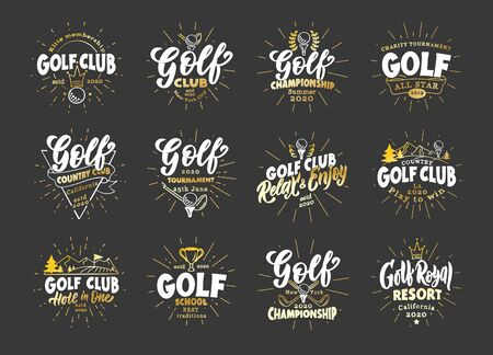 Set of vintage Golf emblems and stamps. Sport badges, templates and stickers for Golf club