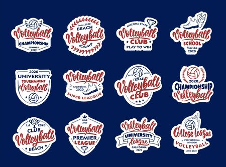 Set of Volleyball stickers, patches. Sport badges, emblems, stamps for club, school on blue background.