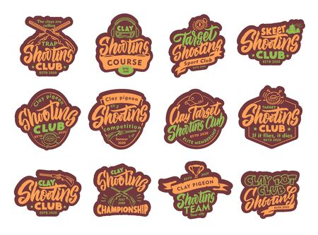 Set of Clay Shooting stickers, patches. Colorful badges, emblems, stamps for club on white background. Collection of retro with hand-drawn text, phrases. Vector illustration Stock Illustratie