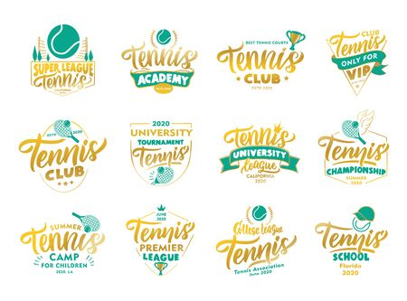 Set of vintage Tennis emblems and stamps. Gold badges, templates and stickers for Tennis club, school. Collection of sport with hand-drawn text, phrases. Vector illustration Stock Illustratie